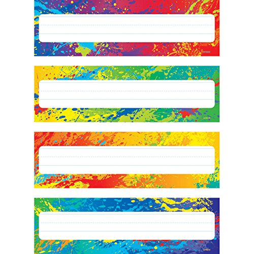 Trend Enterprises Splashy Colors Desk Toppers Name Plates (32 Piece), 2-7/8