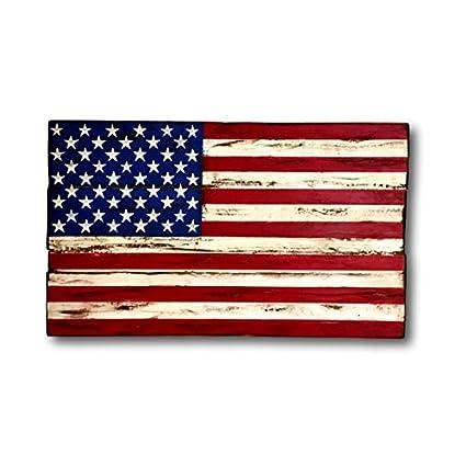 Amazon Com Wood American Flag Rustic American Flag Military