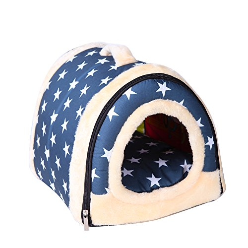 Saymequeen Foldable Cave Nest Cat Dog Indoor House Dog Bed Puppy Portable Bed (L:60x45x45cm/23.6×17.7×17.7 inch, Blue) For Sale