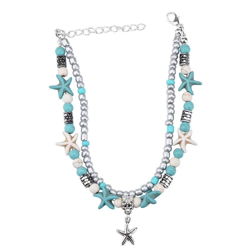 Adjustable Boho Turquoise Beads Sea Turtle Anklet Beach Sandal Ankle Bracelet WensLTD/_ Clearance