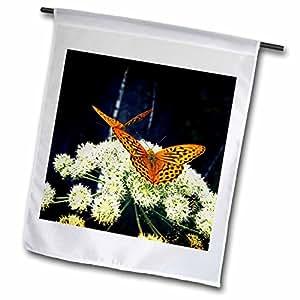 Florene Nature - Orange Butterfly Kisses On White Floral - 18 x 27 inch Garden Flag (fl_58547_2)