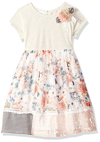 - Bonnie Jean Girls' Toddler Knit to Challis Print Dress, Oatmeal Peach, 4T