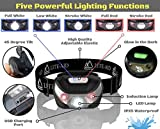 Lite-Aid Rechargeable LED Headlamp Flashlight - Convenient Headlight for Camping, Hiking, Walking, and Home Improvement Needs - 5 Functions (Red/White) - 300 Feet Distance - 30 Hours of Light