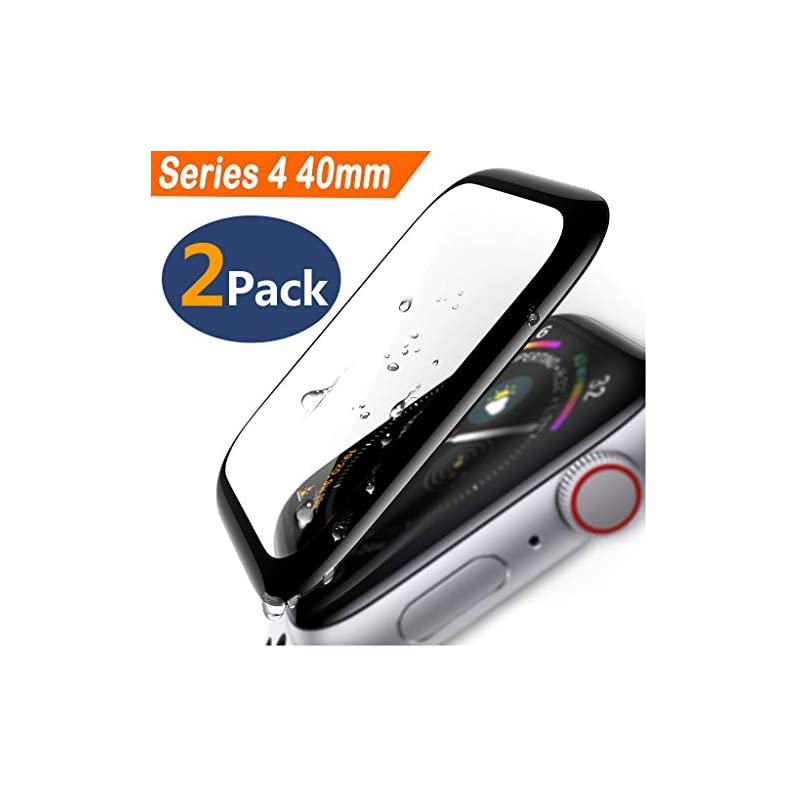Apple Watch Series 4 Screen Protector 40mm (2 Pack) Tempered Glass Screen Protector, Military Shield Full Coverage Screen Protector Compatible Apple Watch Series 4 40mm - HD Anti-Bubble