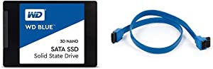 """WD Blue 3D NAND 500GB PC SSD - SATA III 6 Gb/s, 2.5""""/7mm - WDS500G2B0A & Monoprice 18-Inch SATA III 6.0 Gbps Cable with Locking Latch and 90-Degree Plug - Blue"""