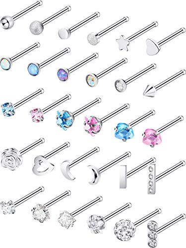 Jovitec Stainless Steel Nose Stud Set Steel Nose Ring Rose Ball Labret Body Piercing Jewelry for Party Wear or Clothes Matching, 20 G (30 Pieces, Bone Stud)