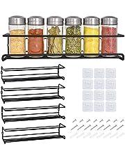 Zwarte kruidenrek met 4 lagen, kruidenrek voor keuken, wanddecoratie, kruidenrek voor specerijen, specerijen, kookgereedschap