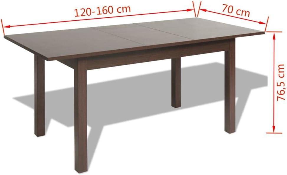 vidaXL Mesa de Comedor Extensible 120/160x70x76,5 cm marrón Oscuro ...