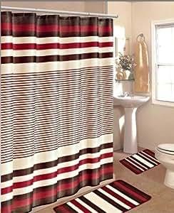 Amazon Com 15pc Burgundy Brown Stripe Bathroom Bath Mats