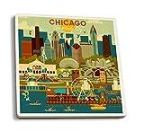 Chicago, Illinois - Geometric (Set of 4 Ceramic Coasters - Cork-backed, Absorbent)