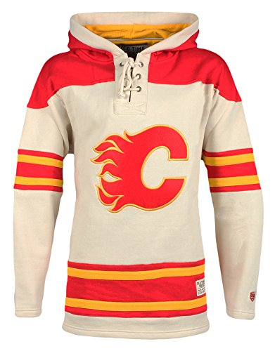 Hockey Gear Old Time (Old Time Hockey NHL Calgary Flames Men's Vintage Lacer Heavyweight Hoodie, Large, Stone)