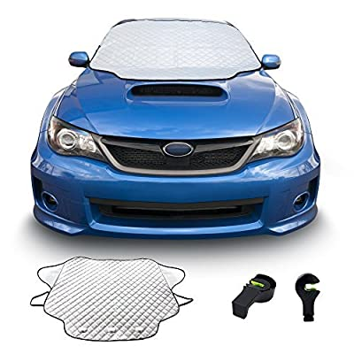 HAPPY CARE BY ENJI Waterproof Scratchproof All Weather Car Windshield Cover - Time Saver, 4 Seasons, Winter Frost Guard, Sun & Snow Shade, with Magnets to Keep It in Place