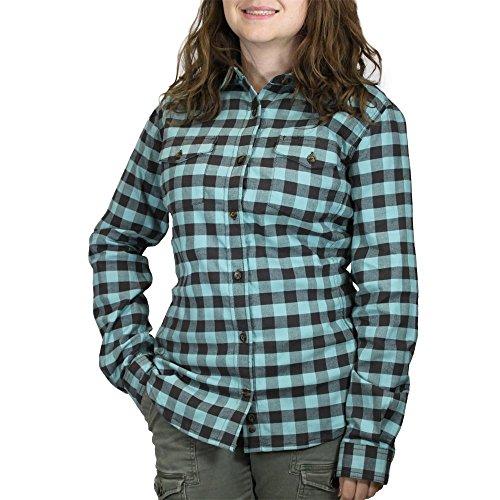Cotton Plaid Work Shirt (Carhartt Women's Hamilton Stretch Flannel Button Front Shirt, Dark Shale/Coastline, X-Large)