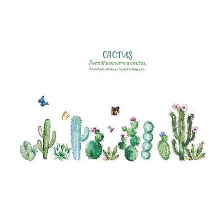 Cactus De Dibujos Animados Plantas Verdes Hojas Estilo Pastoral ...