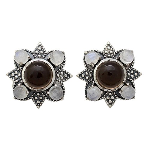 - NOVICA Multi-Gem Smoky Quartz .925 Sterling Silver Button Earrings 'Mughal Moonlight'