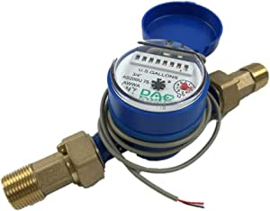 """DAE AS200U-75P Water Meter with Pulse Output, 3/4"""" NPT Couplings, Measuring in Gallons"""