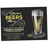 Chalk Cheers Beer Birthday Invitations Man 30th 40th 50th 60th 70th Any Age Adult