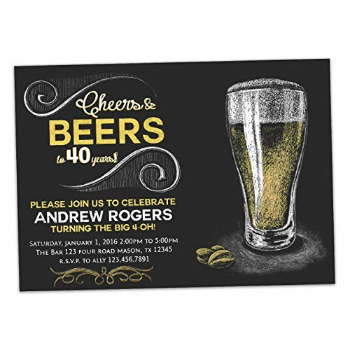 Chalk Cheers Beer Birthday Invitations Man 30th 40th 50th 60th 70th Any Age Adult ()