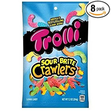 Trolli Sour Brite Crawlers Gummi Candy, 7.2 Ounce - 8 per case.
