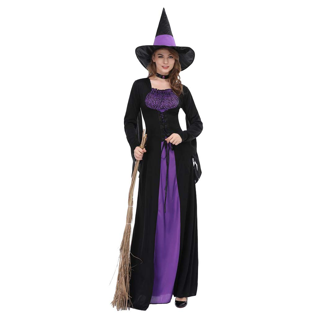 Bodbii Femmes Noir Violet Sorci/ère Robe Sorceress Cosplay adultes Halloween Costume Party