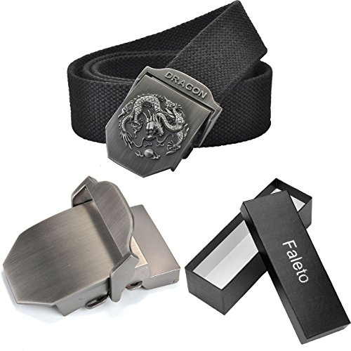 Faleto Mens Adjustable Canvas Web Belt Dragon Buckle Military Style 49.2 with Box
