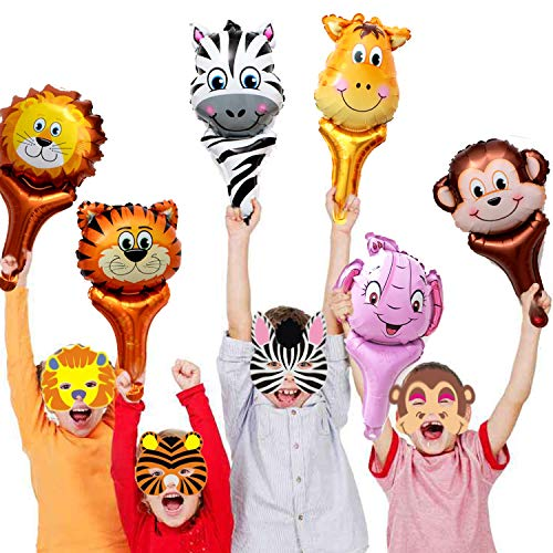 GuassLee Jungle Safari Animal Theme Party Set - 12pcs Handhold Jungle Animal Balloons, 6pcs SafarFoam Animal Masks for Kids Jungle Themed Zoo Animal Birthday Party Supplies ()
