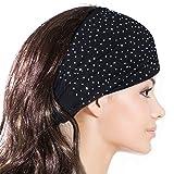 Sparkling Rhinestone and Dots Wide Elastic Headband – Black image