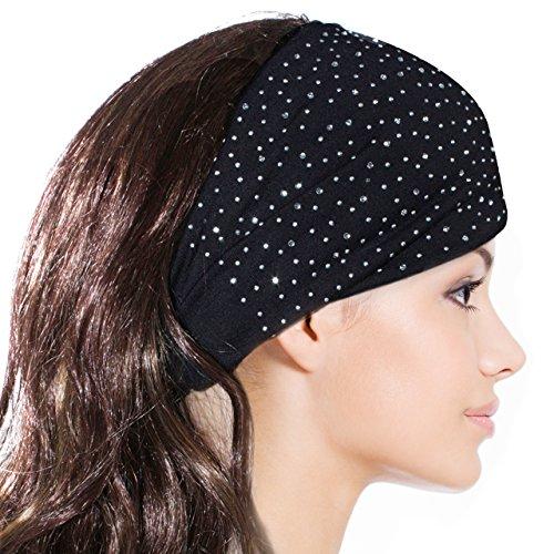 Price comparison product image Sparkling Rhinestone and Dots Wide Elastic Headband - Black