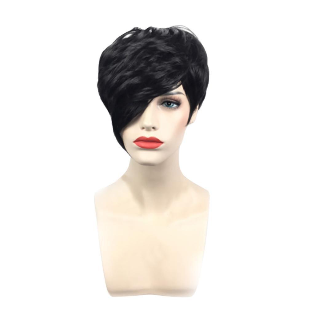 certainerヘアウィッグ、ショートブラックGluelessフルレースヘアウィッグSynthetic自然付け毛の女性耐熱性繊維Africanヘア M ブラック  ブラック B07BSK4ZVY