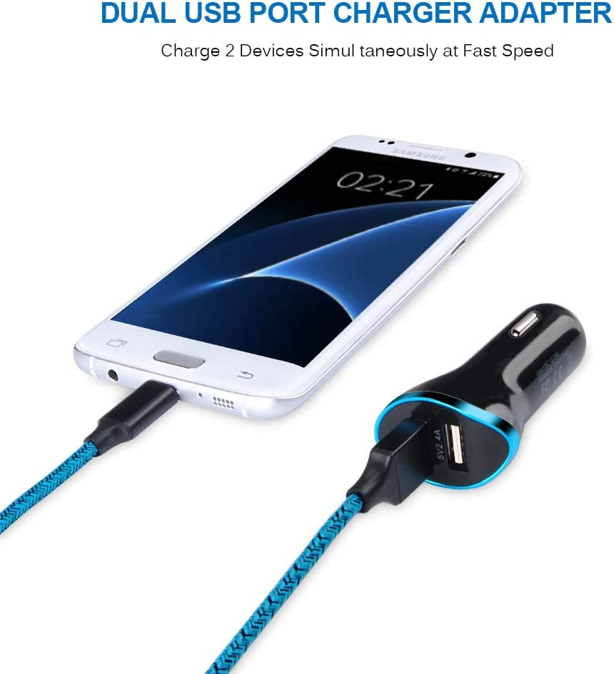 AndHot 2.4A Phone Car Charger Adapter Plug with 6ft Micro USB Charger Cable Cords Replacement for S7 Edge//S7//S7 Active//S6 Edge//S6 Moto G6 Play LG Stylo 3//2 Plus K30 K20 Dual Port USB Car Charger