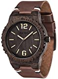 Watch Men's Wooden Watch, VOEONS Analog Quartz Leather Wood Wrist Watch for Men