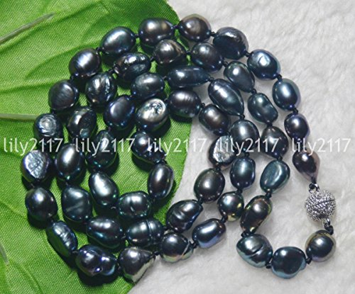Genuine Natural 9-10MM Black Cultured Baroque Pearl Necklace 22