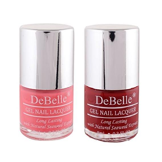 DeBelle Nail Polish Combo set of 2, Hot Pink (BeBe Kiss) and Maroon(Moulin Rouge),16 ml (8 ml each)