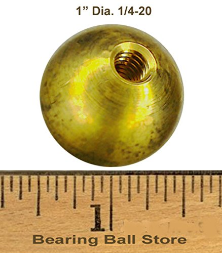 38 1'' threaded 1/4-20 brass balls drilled tapped lamp finials by Bearing Ball Store