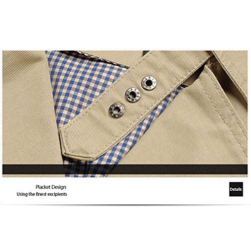REFURBISHHOUSE Giacche da uomo moda primavera autunno moda maschile giacca a vento giacca slim fit sottile trench casual colore puro giacche lunghe Cachi, ASIA-L//INTL-S