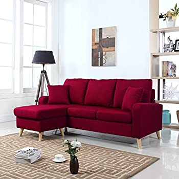Mid Century Modern Linen Fabric Small Space Sectional Sofa With Reversible Chaise Red