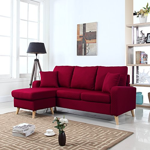 Mid Century Modern Linen Fabric Small Space Sectional Sofa with Reversible Chaise (Red)