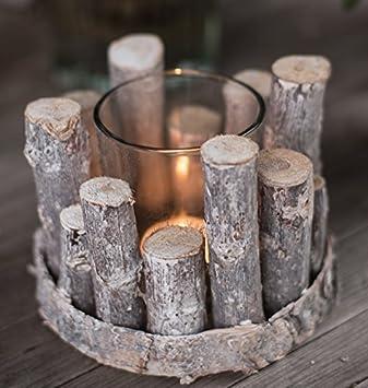 Chiccie Holz Ast Teelichthalter 1er Rund 12cm Vintage Tischdeko