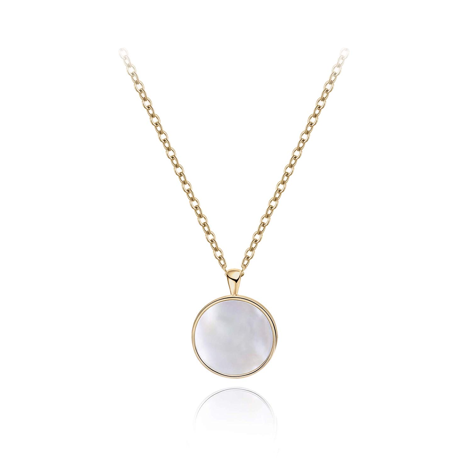 6836346228b8d S.Leaf Sterling Silver Dainty Necklace Mother of Pearl Necklace Circle Disc  Pendant Necklace