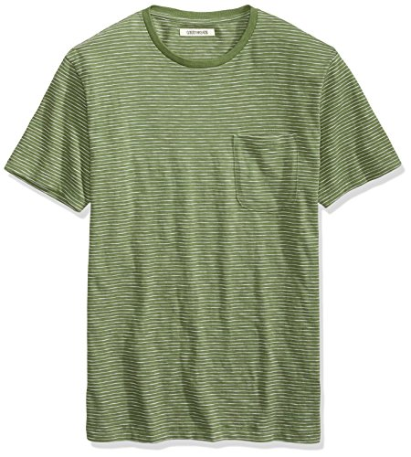 Goodthreads Men's Lightweight Slub Crewneck Pocket T-Shirt, Bronze Green/Olive/White Stripe, Medium ()