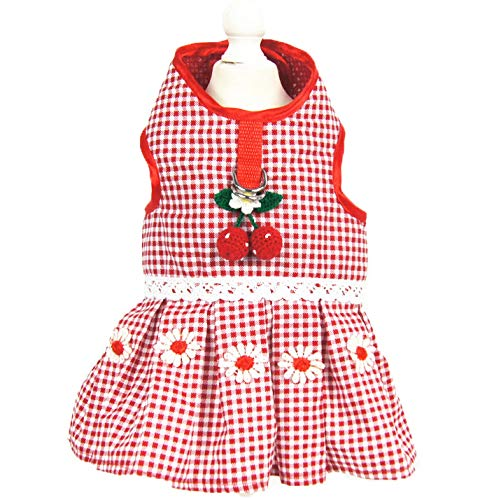XL Shangyuan Pet Strawberry Vest Dress Red Knitted Fabric Material Multiple Sizes Durable Easy to Clean Pet Sweet Breathable Vest Dress