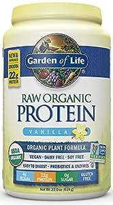 Garden of Life Organic Vegan Protein Powder with Vitamins and Probiotics - Raw Protein Shake, Sugar Free, Vanilla 22oz (624g) Powder