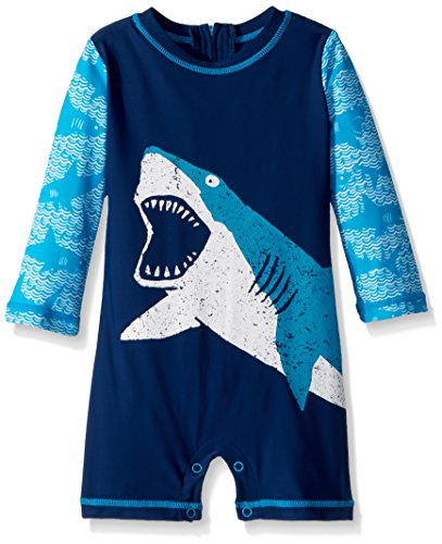 Hatley Baby Boys Mini One Piece Rash Guard, Shark Alley, 6-9 - Sun Goggles Baby