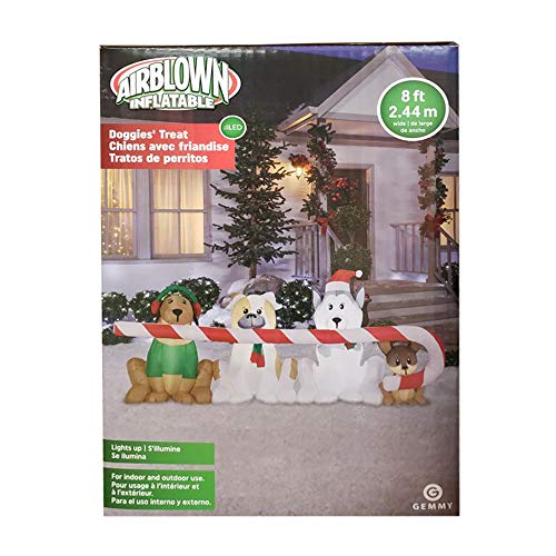 Gemmy' Airblown Inflatable 8ft. 2.44m. Doggies' Treat Dog Christmas Prop - Gemmy Airblown Inflatable