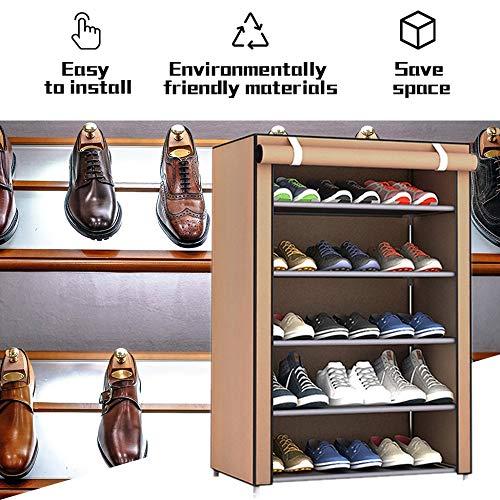 Caf/é 6 Capas 5 celos/ía Justdodo Zapatillas de Tela no Tejida de Gran Tama?o y a Prueba de Polvo Organizador para el hogar Dormitorio Dormitorio Bastidores de Zapatos Estante Gabinete