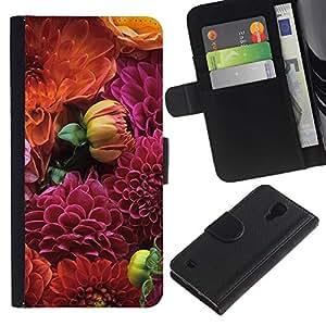 Paccase / Billetera de Cuero Caso del tirón Titular de la tarjeta Carcasa Funda para - Floral Pattern Purple Orange - Samsung Galaxy S4 IV I9500