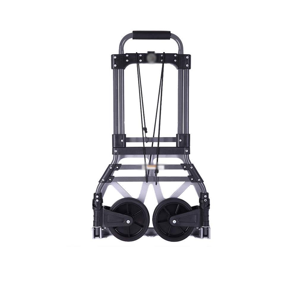 ZHICHII Aluminum Alloy Trolley Car, Folding Trolley Pull Cargo Trailer Portable Baggage Handling Trolley Size 39677CM (Color : Black, Size : 49891CM)