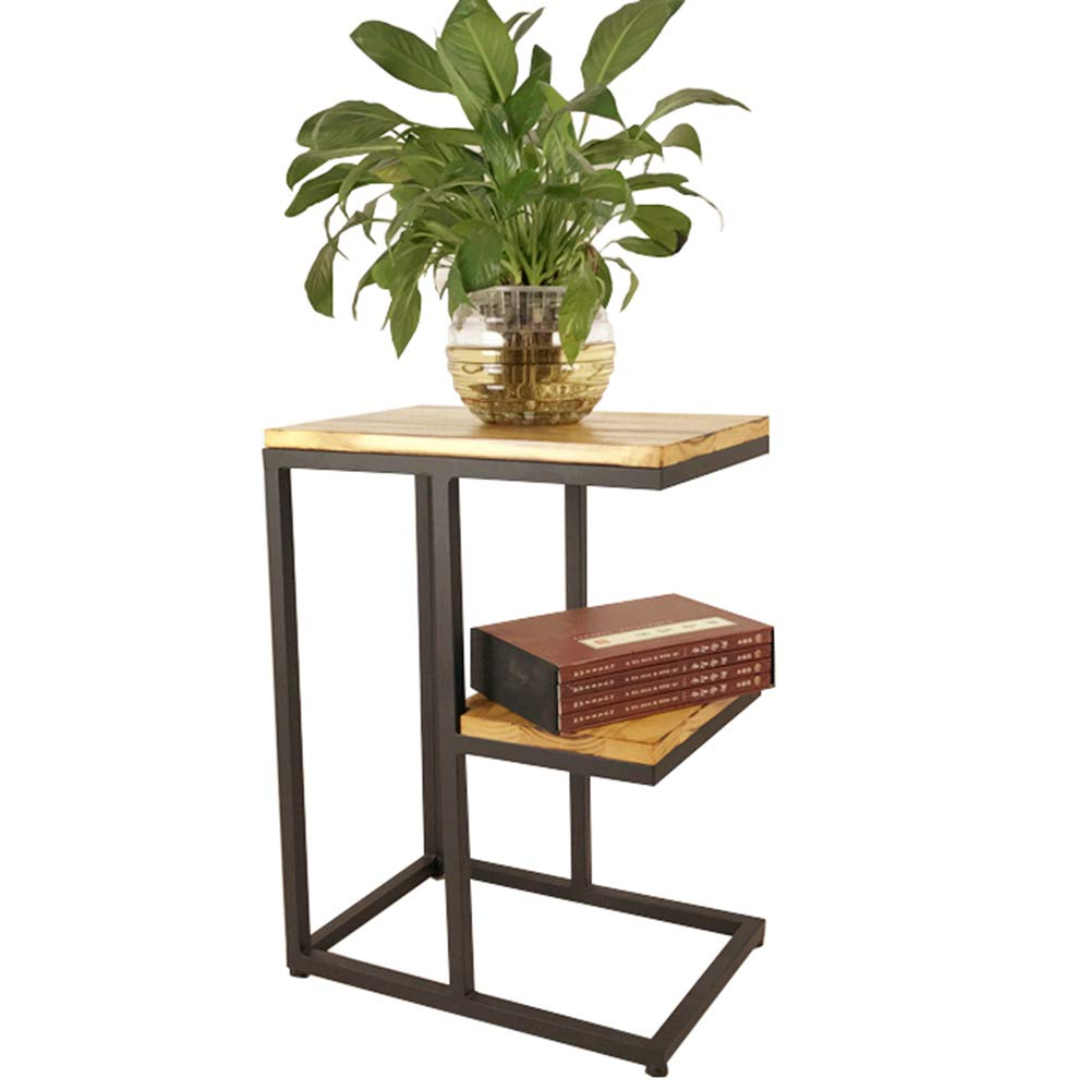 Chunlan Sofa Side End Table with Modern C Shape Construction Black Iron Frame and Natural Wood,604530cm