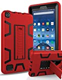 TIANLI All-New Amazon Kindle Fire 7 Case High Impact Resistant Fixed Sturdy Kickstand Soft Silicone and Plastic Hybrid Cover for Fire 7 Tablet (7th Generation,2017 Release),Red Black