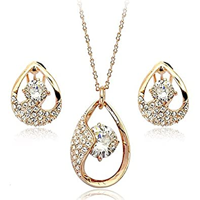Brilliance Earrings & Pendant Necklace Jewellery Set with Swarovski Crystals in 18ct White Gold Finish